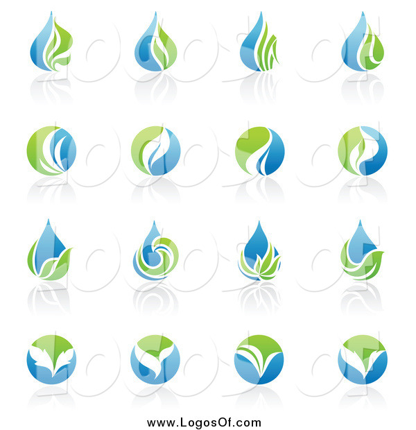 Vector Clipart of Blue and Green Organic and Ecology Logos