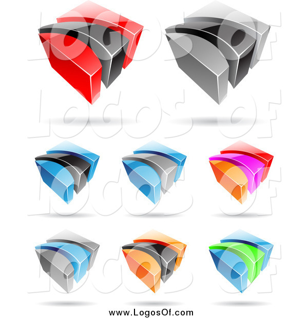 Vector Clipart of Colorful 3d Cubic Swoosh Logos