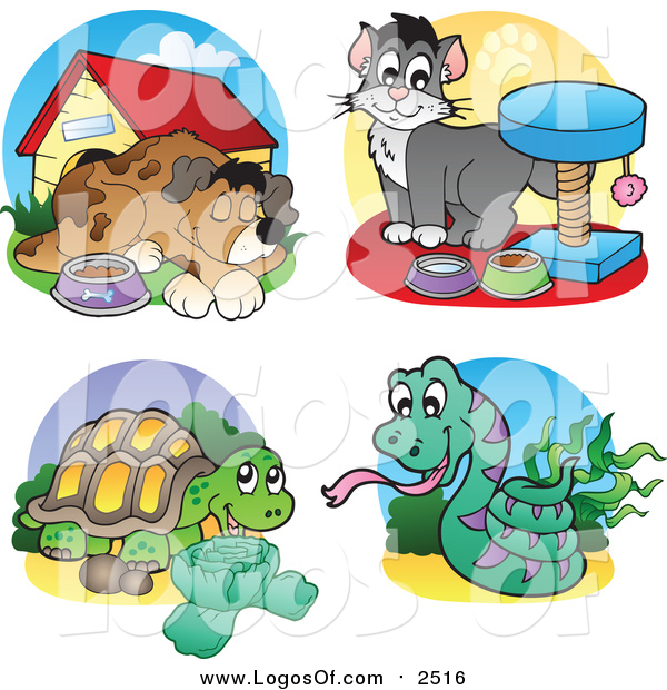 Vector Clipart of Dog, Cat, Tortoise and Snake Logos