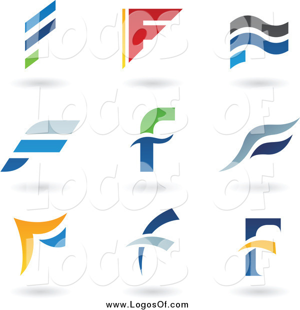 Vector Clipart of Letter F Logos and Shadows
