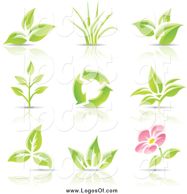 Vector Clipart of Recycle and Plant Logos