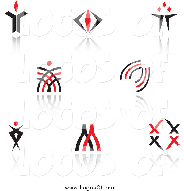 Vector Clipart of Red and Black Logos and Reflections
