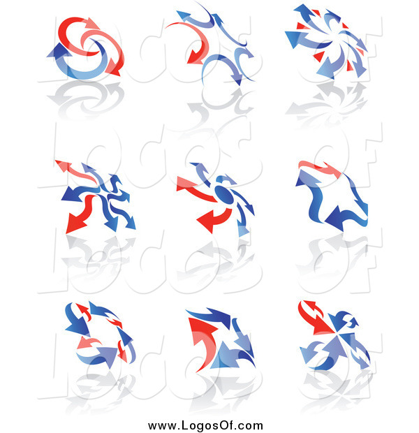 Vector Clipart of Red and Blue Arrow Logos