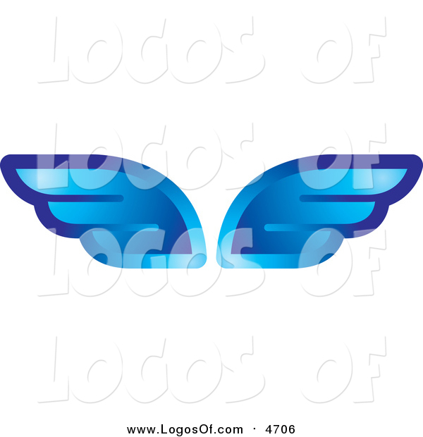 Vector Clipart of Shiny Blue Wings