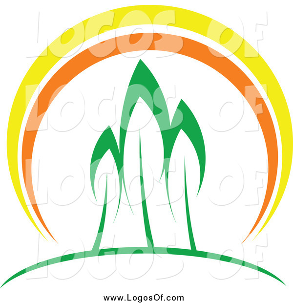 Vector Clipart of Three Trees and a Sunset Logo