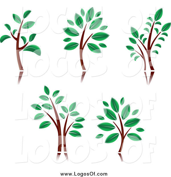 Vector Clipart of Trees with Brown Trunks and Green Leaves Logos