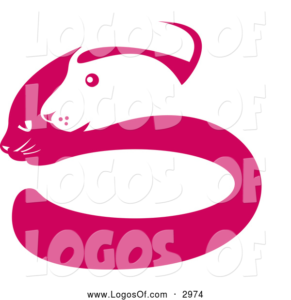 Vector of a Pink and White Dog and Cat Face S Logo