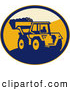 Clipart of a Retro Mechanical Digger in an Oval Logo by Patrimonio