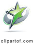 Logo Vector of a 3d Green Star in a Chrome Circle, Above Space for a Business Name and Company Slogan by Beboy