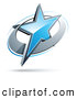 Logo Vector of a Blue Star in a Chrome Ring, Above Space for a Business Name and Company Slogan by Beboy
