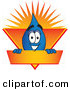 Logo Vector of a Blue Water Drop Mascot Cartoon Character on an Orange and Yellow Label by Toons4Biz