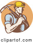 Logo Vector of a Coal Miner Worker Carrying a Pickaxe over a Brown Circle Logo by Patrimonio