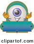 Logo Vector of a Cute and Smiling Eyeball Mascot Cartoon Character on a Blank Business Label by Toons4Biz