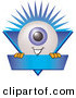 Logo Vector of a Cute Eyeball Mascot Cartoon Character on a Blue Business Ribbon by Toons4Biz