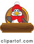 Logo Vector of a Grinning Friendly Penguin Mascot Cartoon Character Waving on a Wooden Logo Plaque by Toons4Biz
