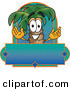 Logo Vector of a Grinning Tropical Palm Tree Mascot Cartoon Character over a Blank Business Label by Toons4Biz