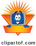 Logo Vector of a Happy and Grinning Desktop Computer Mascot Cartoon Character Logo Showing the Monitor Smiling over an Orange and Yellow Banner Against a Sunburst by Toons4Biz
