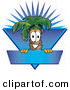 Logo Vector of a Happy Cute Palm Tree Mascot Cartoon Character over a Blank Blue Business Label with a Burst by Toons4Biz