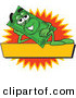 Logo Vector of a Happy Green Dollar Bill Mascot Cartoon Character Reclining over a Blank Yellow Label by Toons4Biz