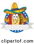Logo Vector of a Hispanic Taco Mascot Cartoon Character over a Blank White Banner on an American Themed Business Logo by Toons4Biz