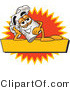 Logo Vector of a Reclining Chefs Hat Mascot Cartoon Character Resting over a Blank Yellow Label by Toons4Biz