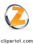 Vector Clipart of a 3d Orange Letter Z in a White and Chrome Circle by Beboy