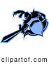 Vector Clipart of a Black and Blue Knight Thrusting a Sword Logo by Chromaco