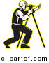 Vector Clipart of a Black and White Surveyor with a Theodolite and a Yellow Outline Logo by Patrimonio