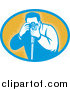 Vector Clipart of a Retro Male Photographer Taking Photos Logo by Patrimonio