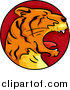 Vector Clipart of a Roaring Tiger Chinese Zodiac Circle by BNP Design Studio