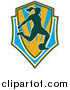 Vector Clipart of a Silhouetted Female Soccer Player Shield by Patrimonio
