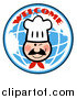 Vector Clipart of a Winking Chef Face over a Blue Welcome Globe by Hit Toon