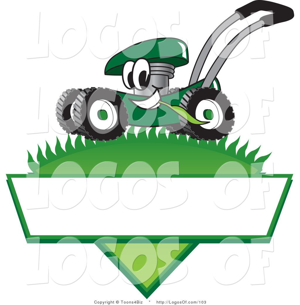logo vector of a grinning green lawn mower mascot cartoon