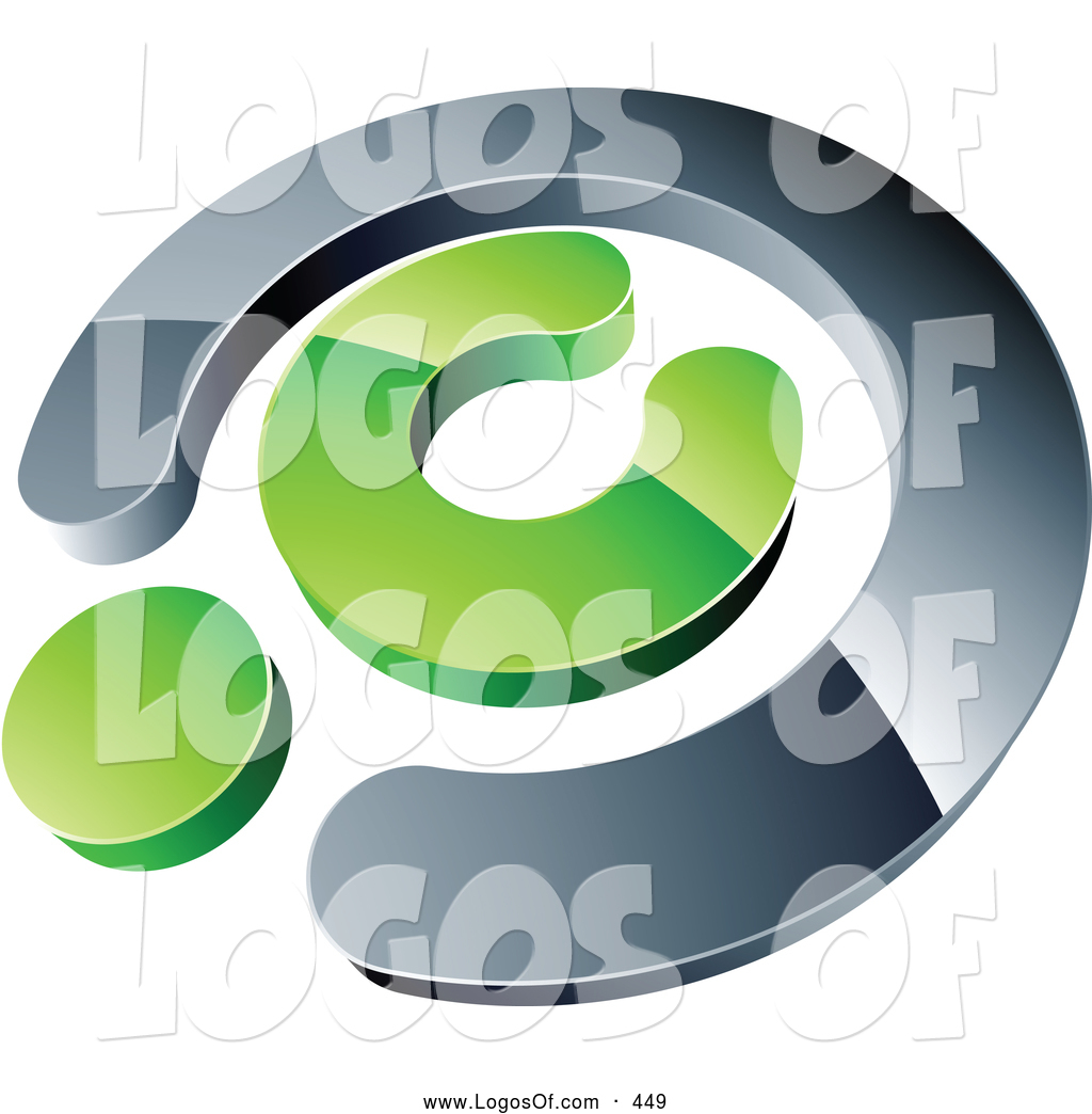 Logo Vector Of A Silver And Green Copyright Symbol Above Space For