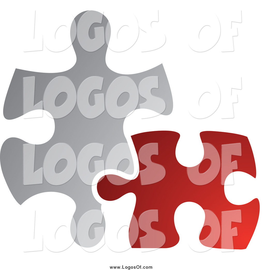 vector clipart of a red and gray jigsaw puzzle pieces connecting