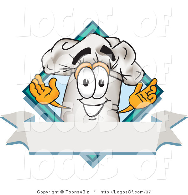 Logo Vector Of A Cute Chefs Hat Mascot Cartoon Character Over Blank Banner